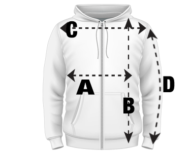 Mens Zipped Hoodie Size Guide
