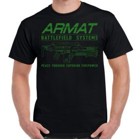 Armat Systems M41A Pulse Rifle Logo Green Print Adult T-Shirt