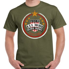 USCM Colonial Marines Distressed Safari Green T-Shirt