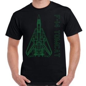 F-14 Tomcat Green Schematic Black Shirt