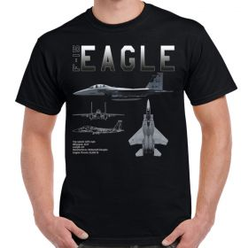 -15 Strike Eagle Schematic Custom Men's Black T-Shirt