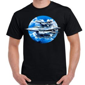 F-16 Falcons In The Clouds Adult T-Shirt