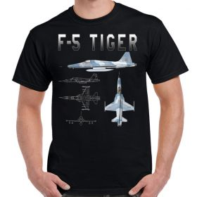 F-5 Tiger Schematic Design Custom Warbird T-Shirt