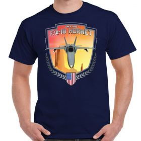 F/A-18 Hornet Coming At You Custom Designed Men's Navy T-Shirt
