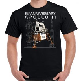 NASA 50th Anniversary Apollo Moon Lander Schematics T-Shirt