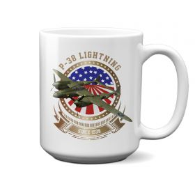 P-38 Lightning Stars and Stripes 15oz Mug