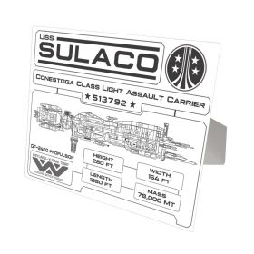 Aliens Sulaco Specifications Data Plate White Aluminum Print
