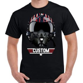 Top Gun Maverick's Helmet Custom Name and Logo Black Shirt
