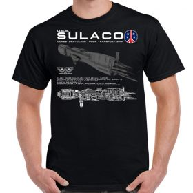 USS Sulaco Schematic Design Black Shirt