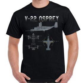 Bell Boeing V-22 Osprey Blueprint Schematic Adult Shirt