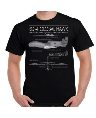 RQ-4 Global Hawk Schematic Adult Shirt