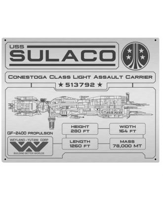 Aliens Sulaco Specifications Data Plate Aluminum Sign