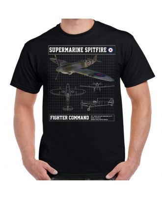 Supermarine Spitfire Schematic Men's Black T-Shirt