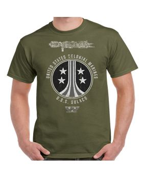 USS Sulaco Colonial Marines Distressed Military Green Adult T-Shirt