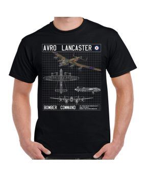 Avro Lancaster Bomber Command Schematic T-Shirt Black