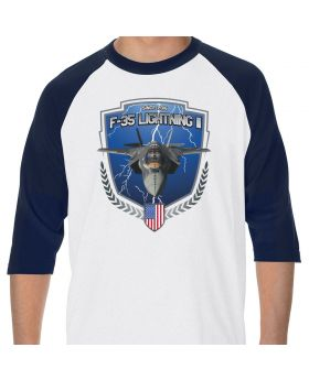 F-35 Lightning II In Flight Adult White/Navy Raglan