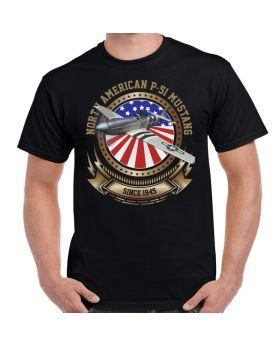 P-51 Mustang Stars and Stripes Men's T-Shirt Black