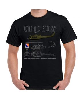 UH-1D Huey Schematic Black T-Shirt