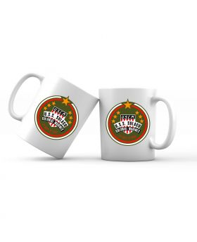 The United States Colonial Marine Corps (USCM) logo emblazoned on a white 11oz coffee mug.