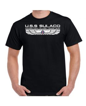 USS Sulaco Colonial Marines Distressed Logo Shirt Black